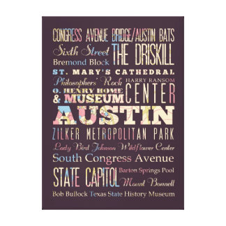 Attractions & Famous Places of Austin, Texas. Canvas Print