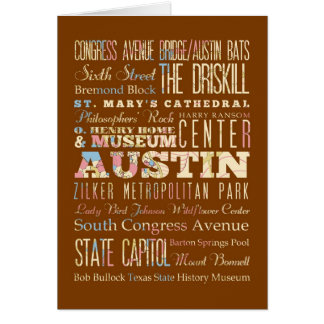 Attractions & Famous Places of  Austin, Texas. Card