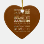 Attractions & Famous Places of  Austin, Texas. Ceramic Ornament