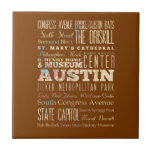 Attractions & Famous Places of  Austin, Texas. Ceramic Tile