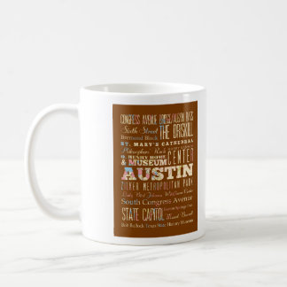 Attractions & Famous Places of  Austin, Texas. Coffee Mug