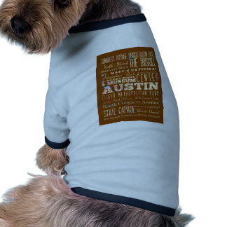 Attractions & Famous Places of  Austin, Texas. Doggie Tee Shirt