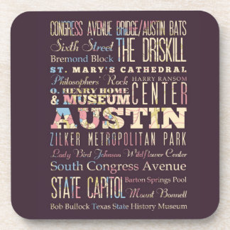 Attractions & Famous Places of Austin, Texas. Drink Coaster