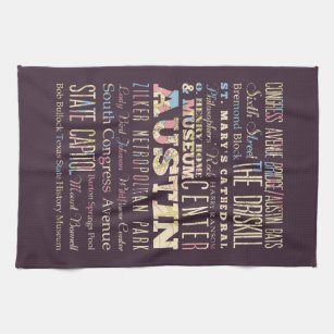 Attractions & Famous Places of Austin, Texas. Hand Towel