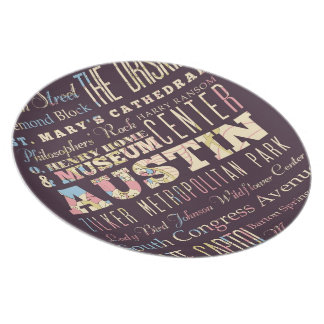 Attractions & Famous Places of Austin, Texas. Melamine Plate