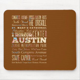 Attractions & Famous Places of  Austin, Texas. Mouse Pad