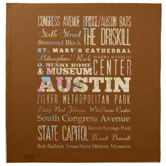 Attractions & Famous Places of  Austin, Texas. Napkin
