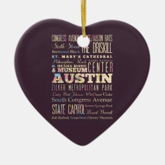 Attractions & Famous Places of Austin, Texas. Ornaments
