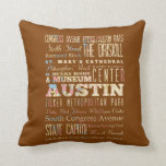 Attractions & Famous Places of  Austin, Texas. Throw Pillow
