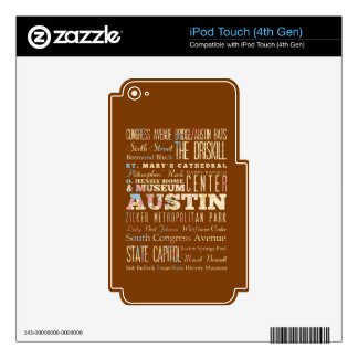 Attractions & Famous Places of  Austin, Texas. iPod Touch 4G Skins