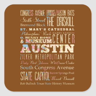 Attractions & Famous Places of  Austin, Texas. Square Sticker