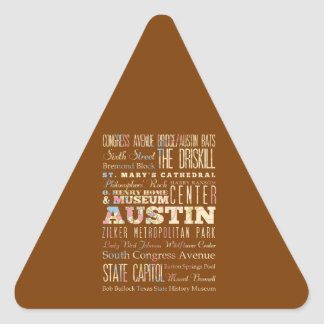 Attractions & Famous Places of  Austin, Texas. Triangle Sticker