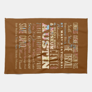 Attractions & Famous Places of  Austin, Texas. Towel