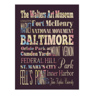Attractions & Famous Places of Baltimore, Maryland Posters