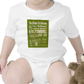 Attractions & Famous Places of Baltimore, Maryland Baby Bodysuit