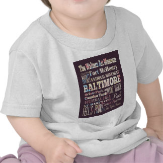 Attractions & Famous Places of Baltimore, Maryland Tee Shirt