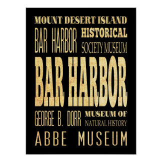 Attractions & Famous Places of Bar Harbor, Maine Poster