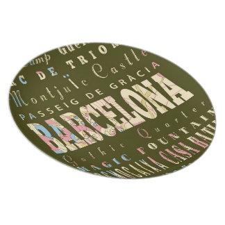 Attractions & Famous Places of Barcelona, Spain. Melamine Plate