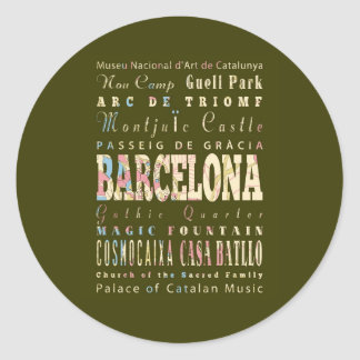 Attractions & Famous Places of Barcelona, Spain. Sticker
