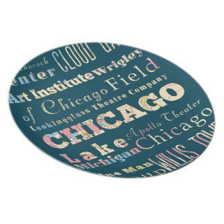 Attractions & Famous Places of Chicago, Illinois. Melamine Plate