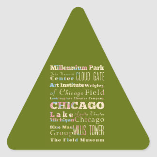Attractions & Famous Places of Chicago, Illinois. Triangle Sticker