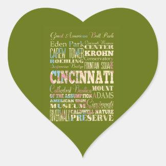 Attractions & Famous Places of Cincinnati, Ohio. Heart Sticker