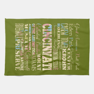 Attractions & Famous Places of Cincinnati, Ohio. Kitchen Towel