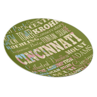 Attractions & Famous Places of Cincinnati, Ohio. Melamine Plate