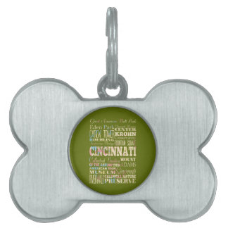 Attractions & Famous Places of Cincinnati, Ohio. Pet Tag