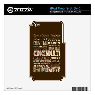 Attractions & Famous Places of Cincinnati, Ohio. Decals For iPod Touch 4G