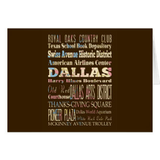 Attractions & Famous Places of Dallas, Texas. Card