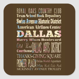 Attractions & Famous Places of Dallas, Texas. Square Sticker