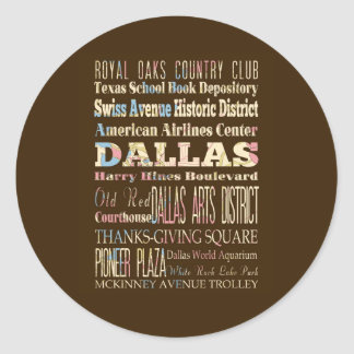 Attractions & Famous Places of Dallas, Texas. Round Stickers