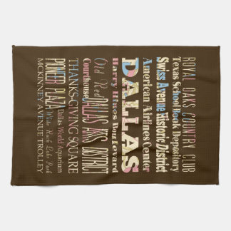 Attractions & Famous Places of Dallas, Texas. Towel
