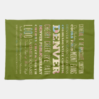 Attractions & Famous Places of Denver, Colorado. Hand Towel