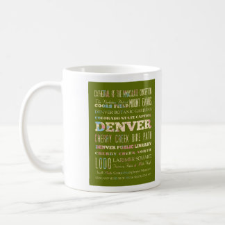 Attractions & Famous Places of Denver, Colorado. Classic White Coffee Mug