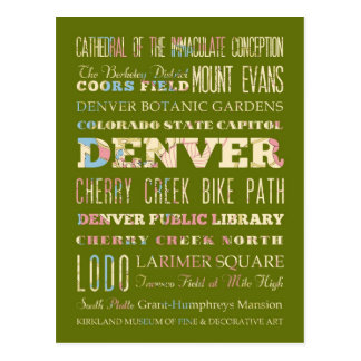 Attractions & Famous Places of Denver, Colorado. Postcard
