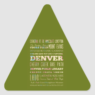 Attractions & Famous Places of Denver, Colorado. Triangle Sticker