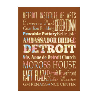 Attractions Famous Places of Detroit Michigan Gallery Wrap Canvas