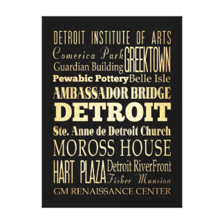 Attractions & Famous Places of Detroit, Michigan Canvas Print
