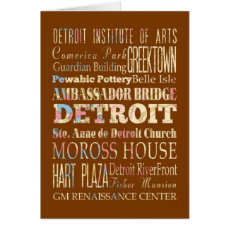 Attractions & Famous Places of Detroit, Michigan. Card