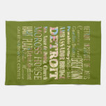 Attractions & Famous Places of Detroit, Michigan. Hand Towel