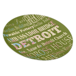 Attractions & Famous Places of Detroit, Michigan. Melamine Plate