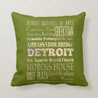 Attractions & Famous Places of Detroit, Michigan. Throw Pillow