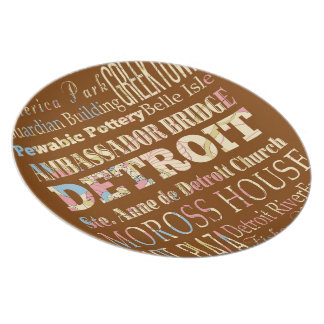 Attractions & Famous Places of Detroit, Michigan. Plate