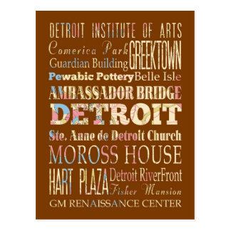 Attractions & Famous Places of Detroit, Michigan. Postcard