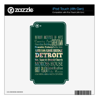 Attractions & Famous Places of Detroit, Michigan. iPod Touch 4G Decal
