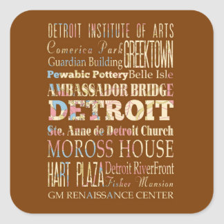 Attractions & Famous Places of Detroit, Michigan. Square Sticker