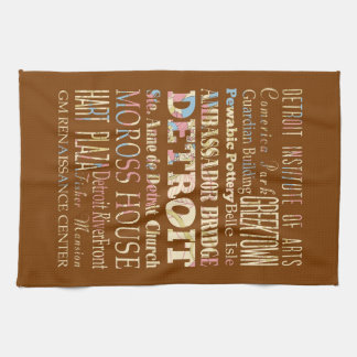 Attractions & Famous Places of Detroit, Michigan. Towel