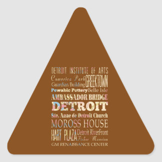 Attractions & Famous Places of Detroit, Michigan. Triangle Sticker